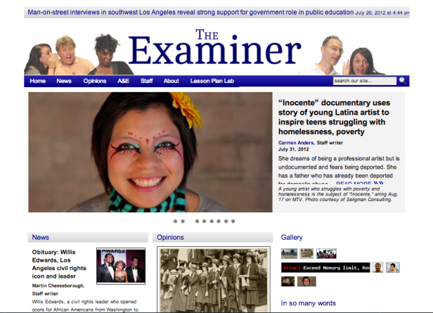 Teacher-produced news website, produced during the Student Voice Project's 2012 summer journalism institute. Screenshot by Beatrice Motamedi.